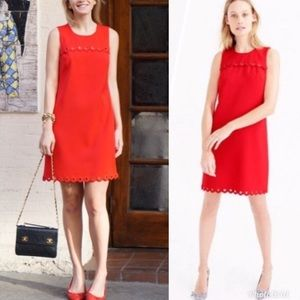 J. Crew Scalloped Dress with Grommets Red Shift 4P